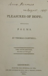 Title page from The Pleasures of Hope with Other Poems