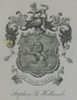 Bookplate of Stephen G Holland. Click for larger image