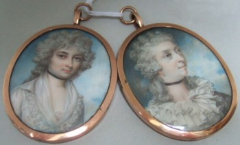 Miniature Portraits of the first two wives of William Marsh 1755-1846 Amelia Cuthbert and Francis Graham. Click for larger image and more info.