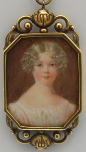 Miniature portrait of Elisa Lousia Marsh-Caldwell 1818-1913 Painted in 1830 believed to be by the artist