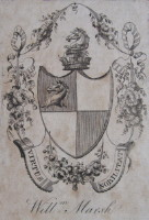 Bookplate of William Marsh 1755-1846. Click for larger image.