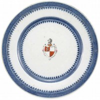 Armorial Dinner Plate with the Marsh family Coat of Arms and Horse Head Crest Chinese plate believed to have been owned by William Marsh.